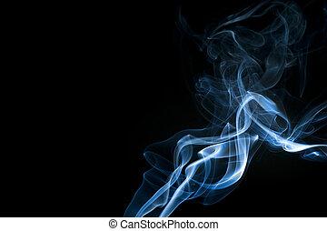 azul, rastros, abstratos, fumaça