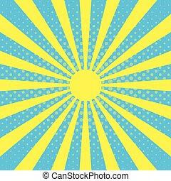 azul, rayos, arte, brillo, sol, efecto, cielo, taponazo, ...