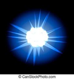 azul, rayos, estrella, espacio, aislado, espalda, negro, blanco, cosmos