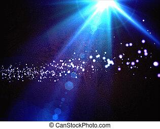 azul, rayos, estrella, flare., lente, plano de fondo, luz,...