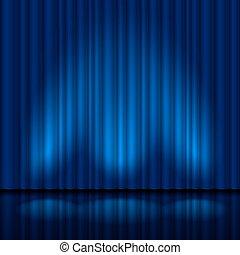 azul, realístico, cortina