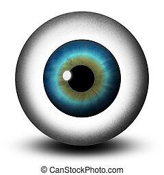 azul, realista, globo ocular