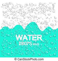 azul, realista, resumen, eps10., ilustración, agua, fondo., drops., vector