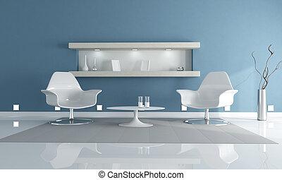 azul, realx, claro, salón