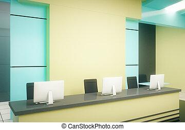 azul, recepción, estante