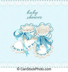 azul, recién nacido, ducha, saqueos, bebé, tarjeta