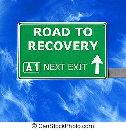 azul, recuperação, céu claro, contra, sinal, estrada