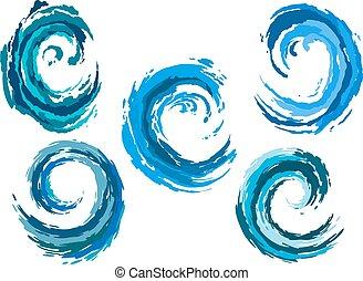 azul, redondeado, mar, ondas, conjunto