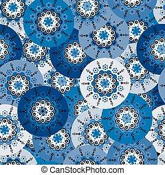 azul, redondo, fundo, arabescos