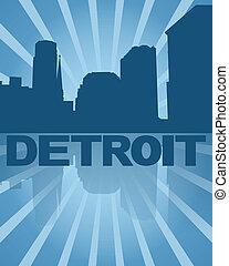 azul, reflejado, ilustración, contorno, detroit, sunburst