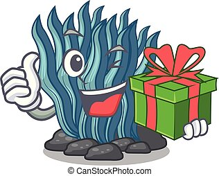 azul, regalo, agua, alga, mar, debajo, caricatura