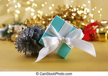 azul, regalo de navidad, en, oro, plano de fondo