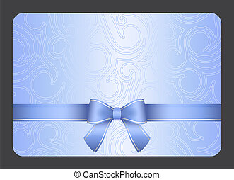 azul, regalo, luz, ornamento, cinta, remolino, tarjeta