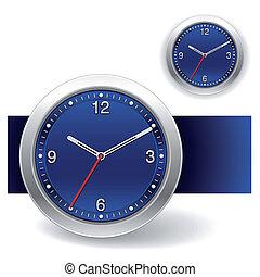 azul, relógio, ícones