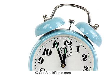 azul, relógio, alarme, -, isolado, fundo, branca