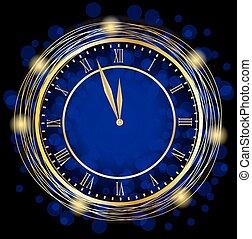 azul, relógio, fundo, festivo