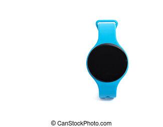 azul, reloj, arriba, aislado, plano de fondo, cierre, blanco, elegante