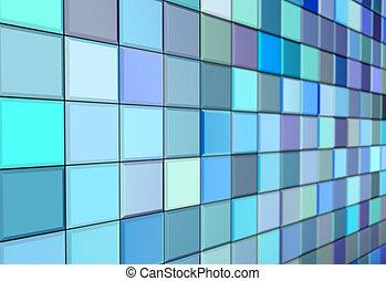 azul, render, púrpura, pared, pavimento, embaldosado, ...