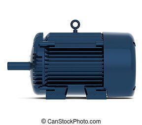 azul, rendido, brillante, motor eléctrico