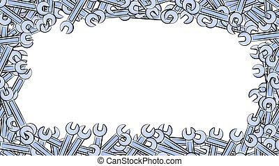 azul, reparación, hecho, pernos, gas, marco, nueces, aflojamiento, ilustración, llaves inglesas, fondo., metal, vector, apretar, blanco, cerrajero, edificio