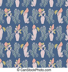 azul, repetir, padrão, seamless, vetorial, cacto, pássaros