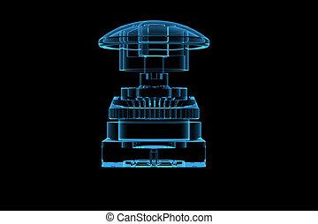 azul, representado, botão, xray, transparente, 3d