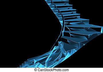 azul, representado, escadaria, xray, transparente, 3d