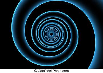 azul, representado, espiral, xray, transparente, 3d