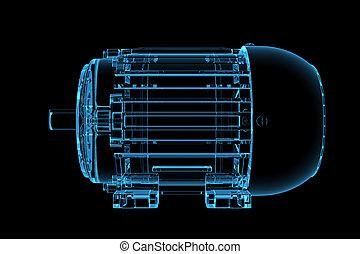 azul, representado, xray, motor, transparente, 3d