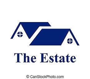 azul, residencial, 1, casa, logotipo