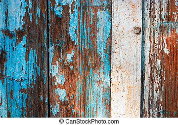 azul, resistido, pintado, madeira, metade, pranchas