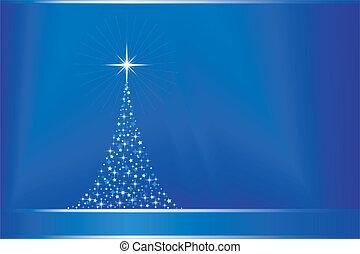 azul, resumen, árbol, vector, copy-space, navidad
