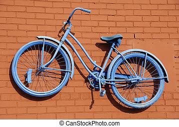 azul, resumen, bicicleta