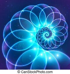 azul, resumen, cósmico, espiral, vector, fractal