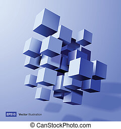 azul, resumen, cubos, composición, 3d
