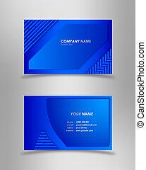azul, resumen, negocio moderno, tarjeta