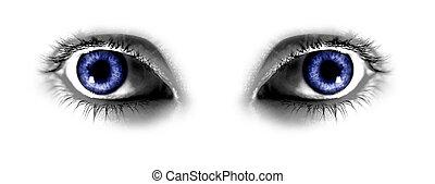 azul, resumen, ojos, dos