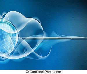 azul, resumen, plano de fondo, con, cristal, esfera