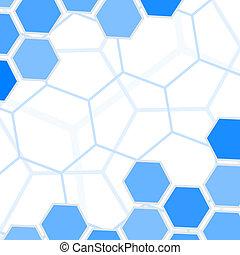 azul, resumen, space., hexágonos, vector, plano de fondo, copia