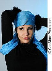 azul, retrato, moda
