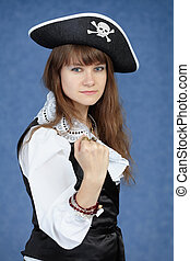 azul, retrato, mulher, pirata, fundo