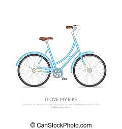 azul, retro, bicicleta, isolado, branco, fundo, apartamento, vetorial, ilustração