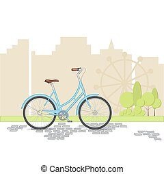 azul, retro, bicicleta, ligado, cidade, fundo, apartamento, vetorial, ilustração