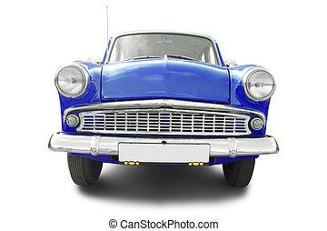 azul, retro, coche