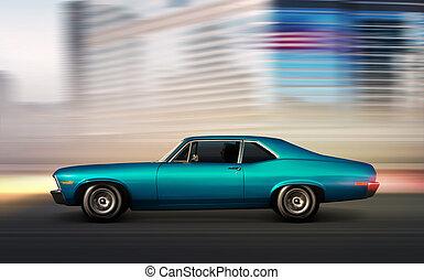 azul, retro, coche, mudanza, por la noche