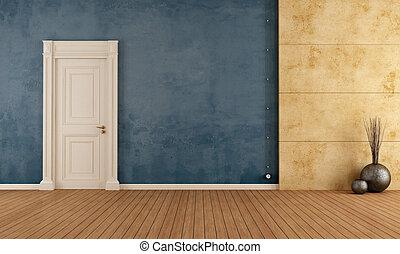 azul, retro, habitación vacía