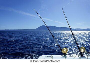azul, revolviendo, agua salada, barco de pesca