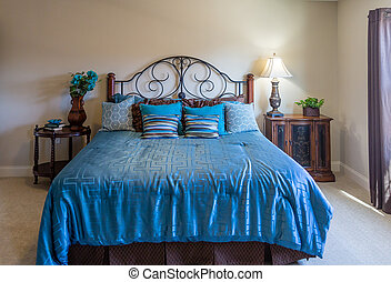 azul, rey, cama