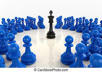 azul, rey, rodeado, peones, negro, ajedrez