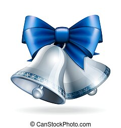 azul, ribbon., sinos, prata